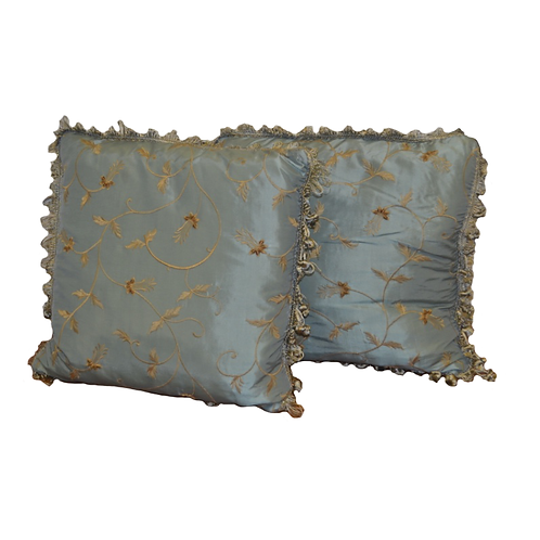Satin, Ocean Blue Pillows, pair