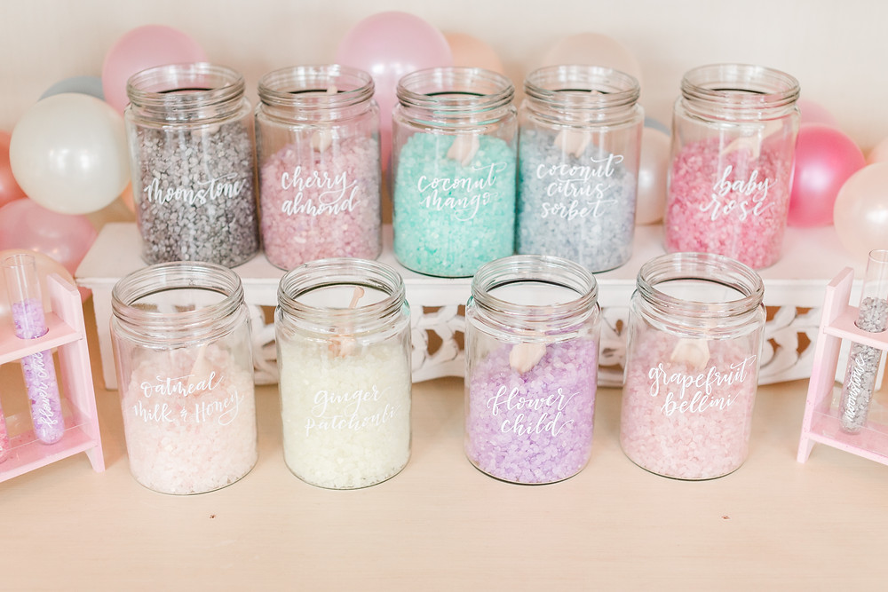 Individual Bath Salts Bar for guests to make their own take home gift