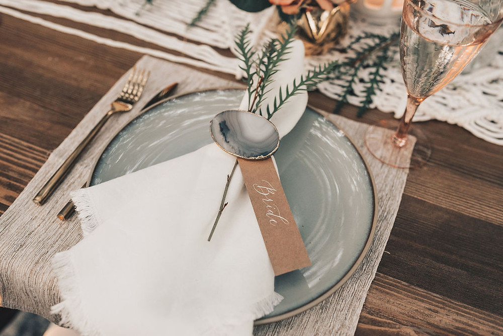 place settings with earthy textural touches