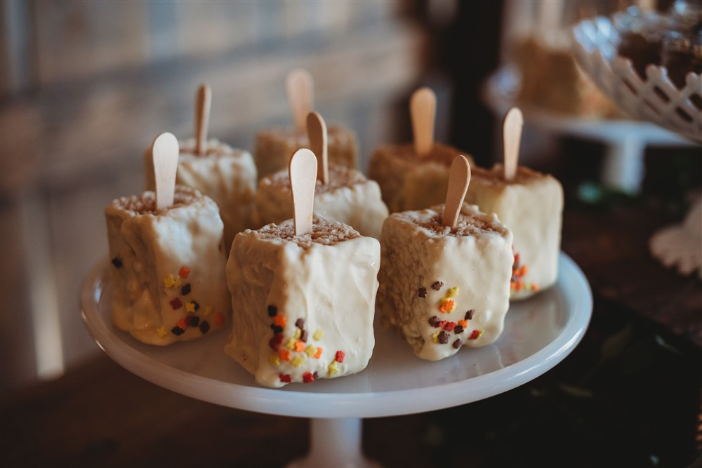 Rice Krispy Popsicle dessert on cakeplate display