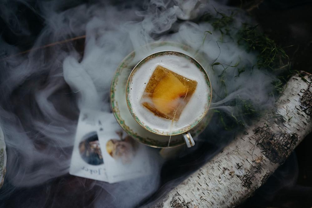 custom cocktails in vintage teacup