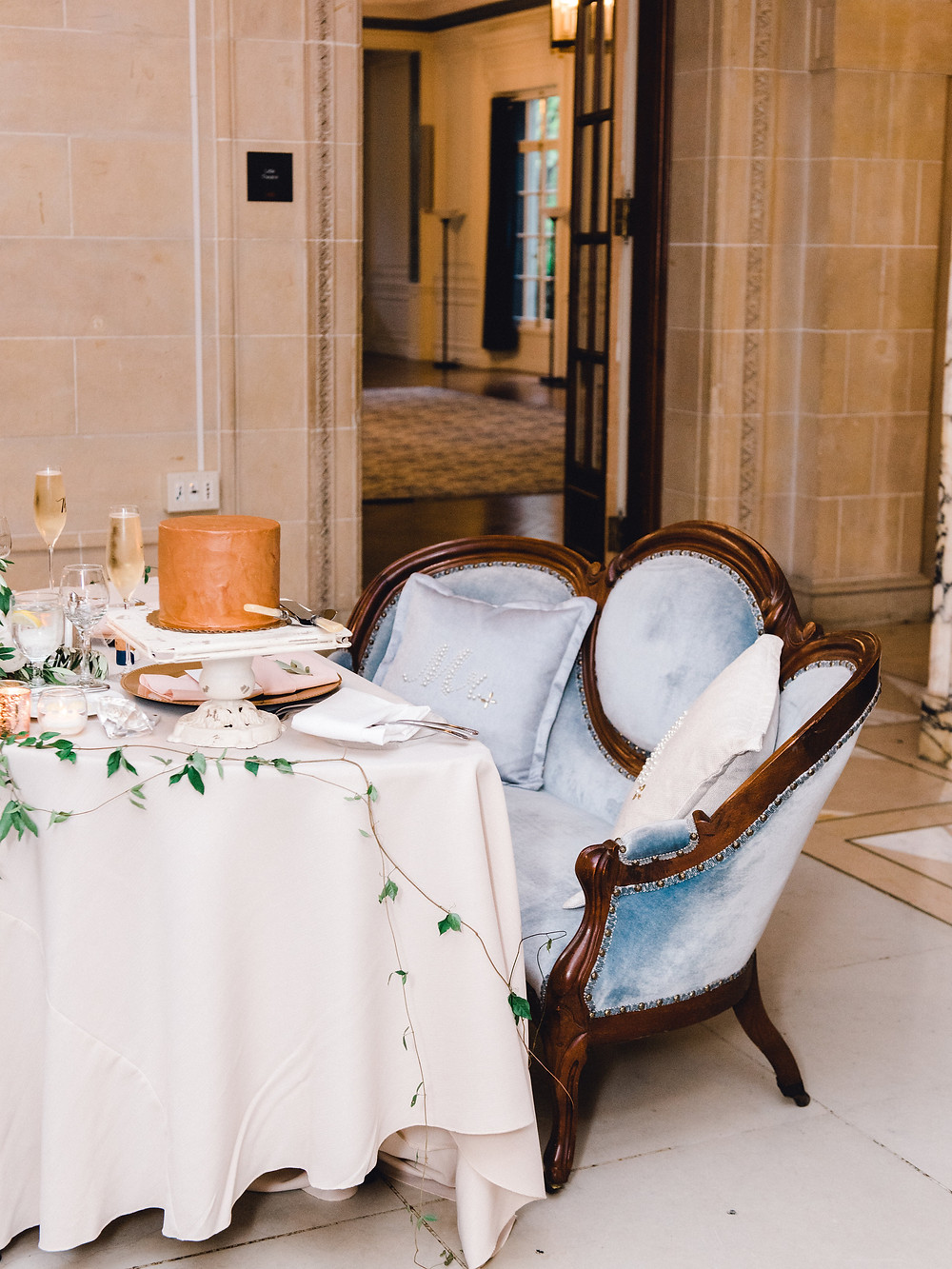 Sweetheart table for the bride and groom