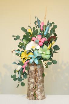Floral Arrangement in Bark Basket