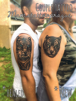 couple tattoo tiger