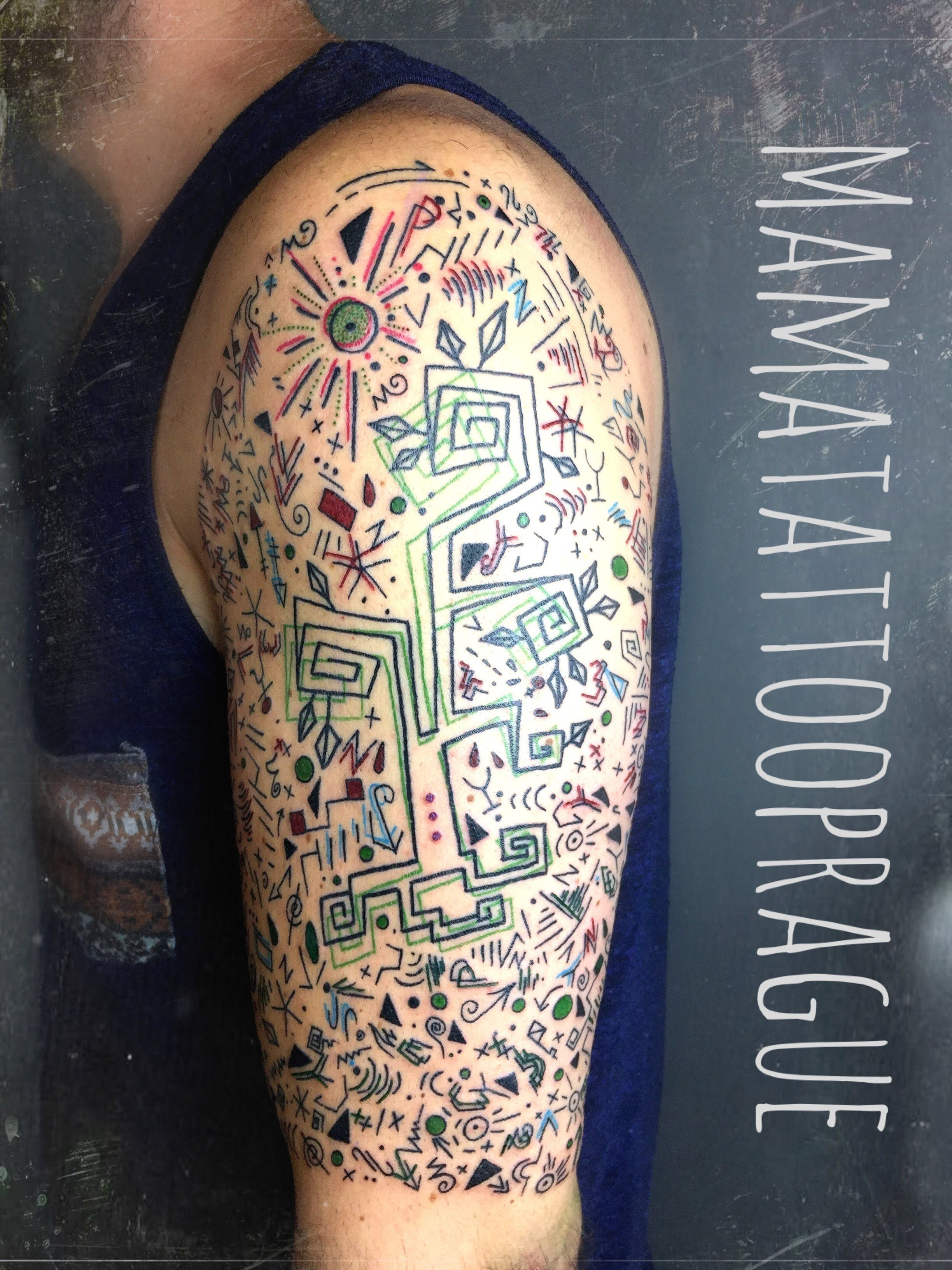 abstract linework tattoo
