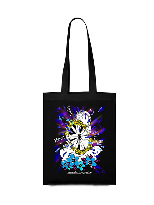 Shopping bag Open your heart - Black, White