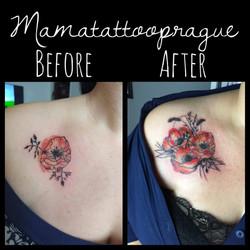 cover tattoo poppy flower