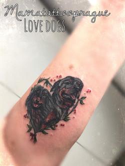 realistic dog tattoo