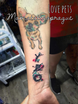 lettering watercolor tattoo