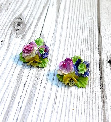 1950s Vintage Ceramic Flower Posy Earrings