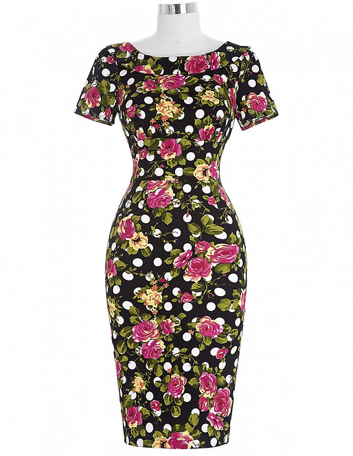 Retro Polka Dot Floral Pencil/Wiggle Dress