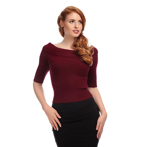 1950s Vintage Style Wine Bardot Knitted Top