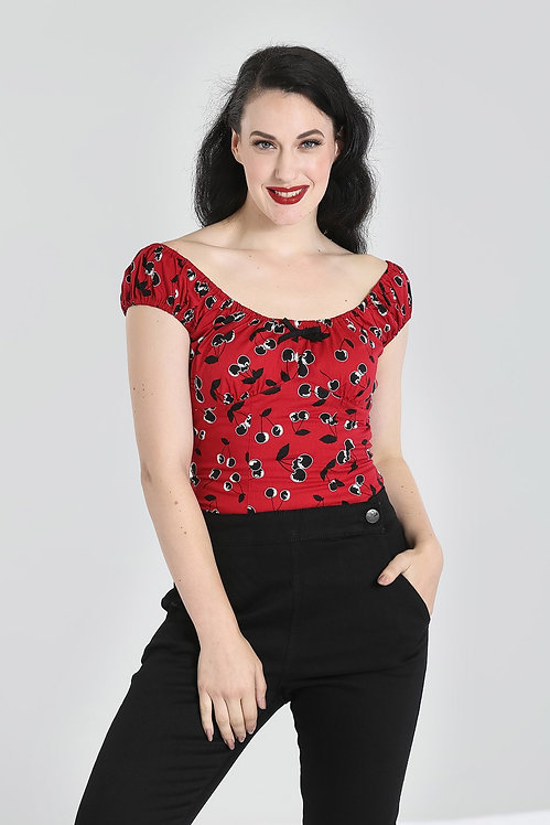 Retro Red Cherry Print Fitted Top
