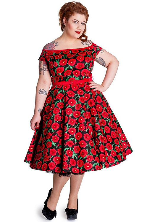 50s Style Black Poppy Print Swing Dress