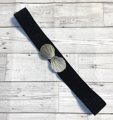 1980s Vintage Black Stretch Shell Belt UK 14/16/18