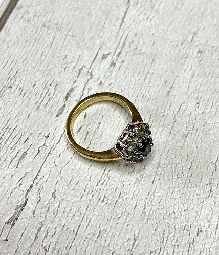 Vintage Imitation Diamond & Sapphire Ring