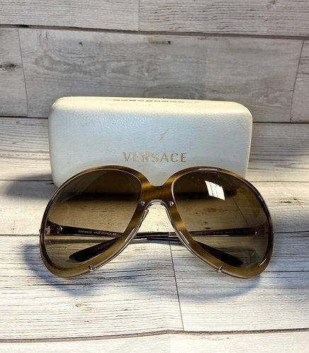 Vintage Versace Oversized Tortoiseshell Sunglasses with Case