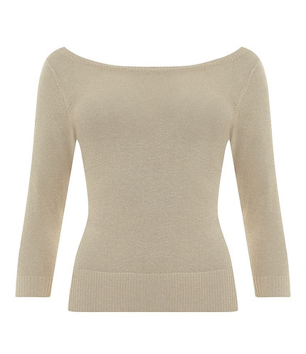 Vintage Inspired Champagne Sparkle Knit Top