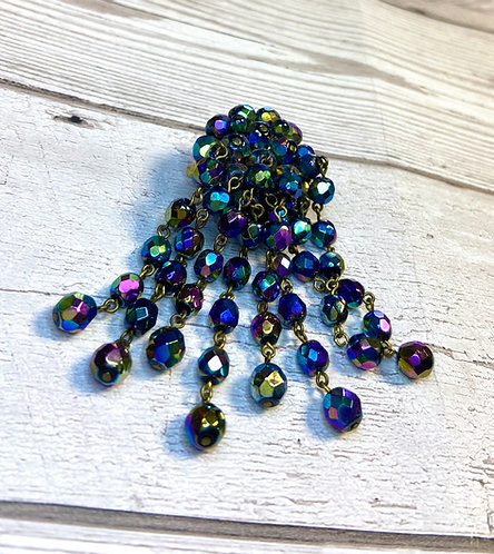Vintage Iridescent Bead Cluster Brooch