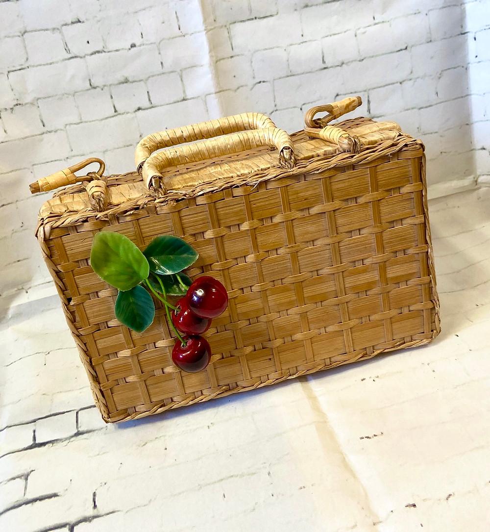 1950s Vintage Wicker Basket Cherry Bag
