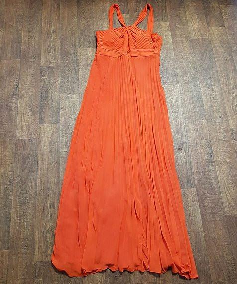Orange Pleated Chiffon Evening Maxi Dress UK Size 14