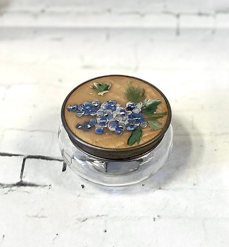 Vintage Hand Painted Glass Trinket Pot