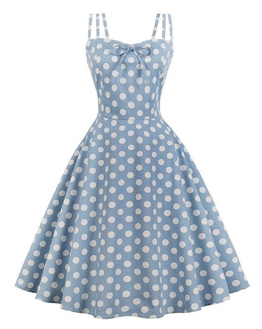 Vintage Inspired Pastel Blue Polka Dot Swing Dress