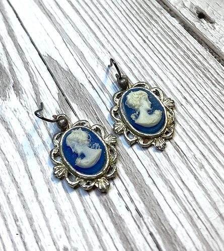 1960s Vintage Deadstock Blue Cameo Earrings