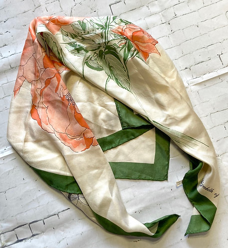 Vintage Queen Mother Elizabeth of Glamis 1985 Silk Scarf