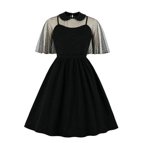 Vintage Style Black Swing Dress with Mesh Cape