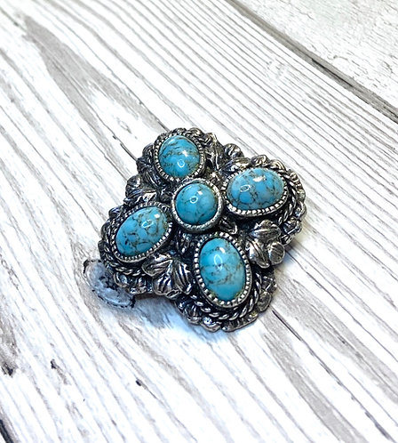 Vintage Miracle Celtic Turquoise Brooch