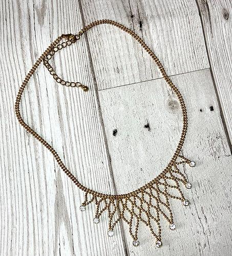 1970s Vintage Goldtone Lattice Diamanté Necklace