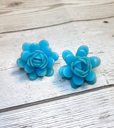 1960s Vintage Blue Plastic Rose Earrings