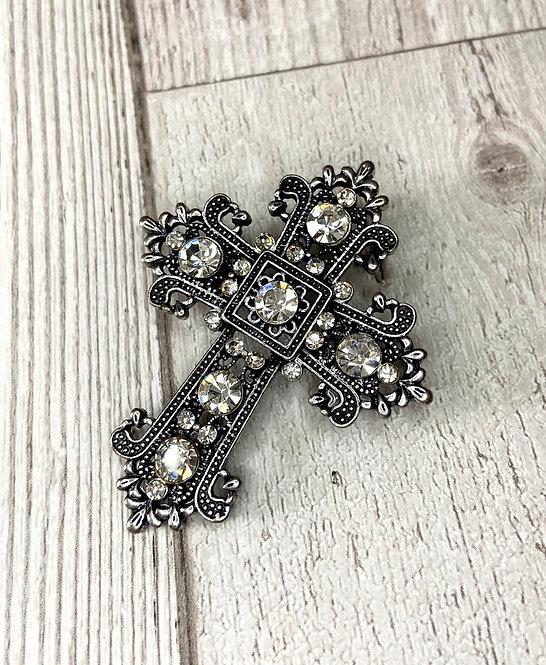 1980s Vintage Diamanté Cross Brooch