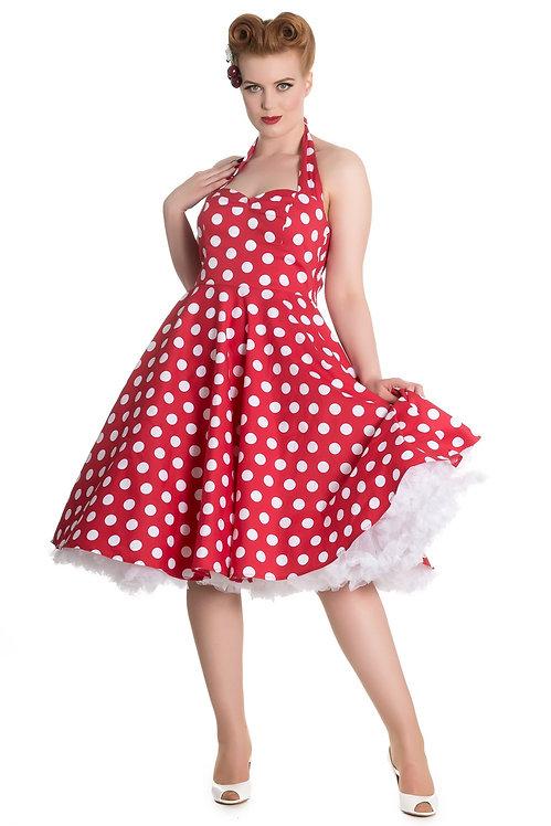 1950s Style Red Polka Dot Halterneck Swing Dress