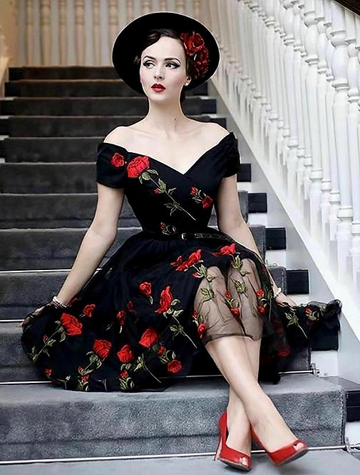 1950s Inspired Black Embroidered Tulle Dress