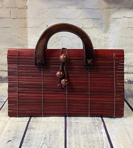1970s Vintage Mahogany Wooden Slat Handbag