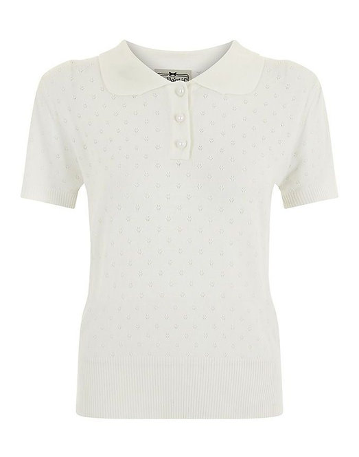 1950s Vintage Inspired Ivory Knitted Top