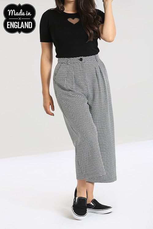 Black & White Dogtooth Wide Leg Trousers