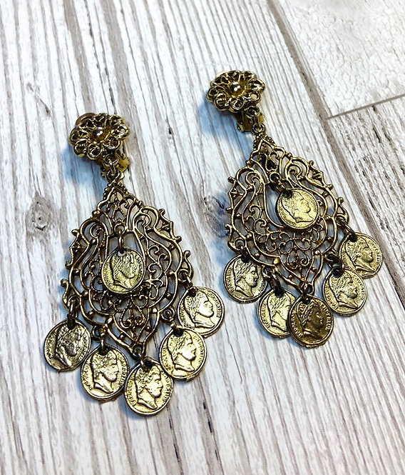 1960s Vintage Gold Filigree Micro Coin Earrings