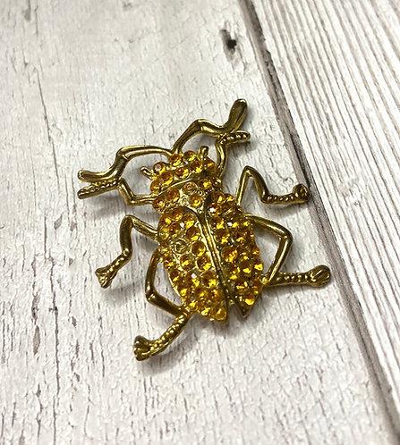 1960s Vintage Gold Jewelled Bug Brooch