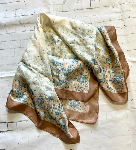 Vintage Liberty of London Beige Silk Scarf