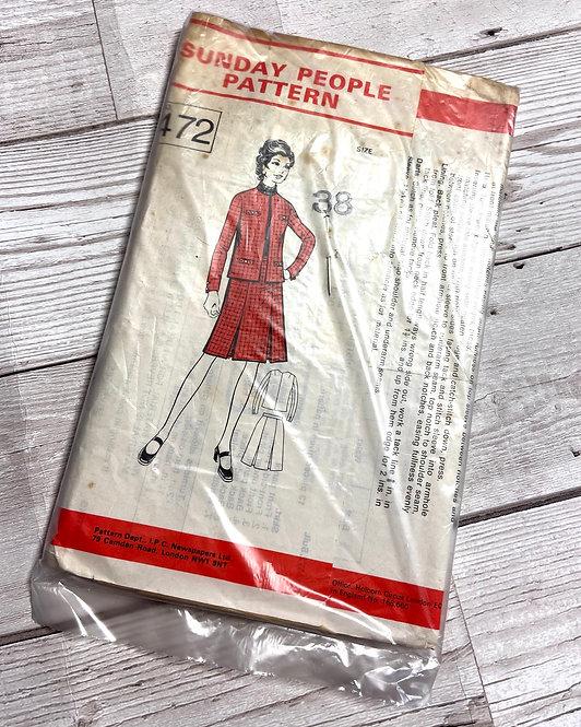 1960s Vintage Sunday People 472 Sewing Pattern