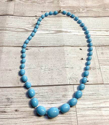 1960s Vintage Blue Bead Necklace
