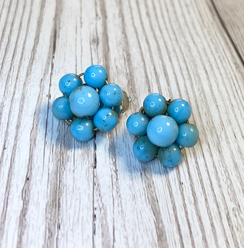 1950s Vintage Blue Bead Flower Earrings