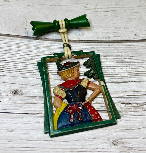 1960s Vintage German Maid Oktoberfest Brooch