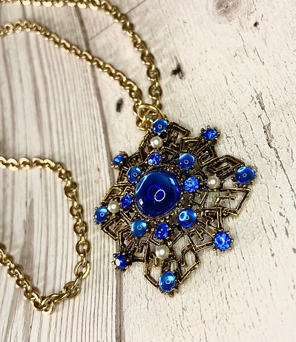 1970s Vintage Gold & Blue Stone Pendant Necklace