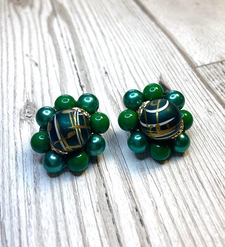 1960s Vintage Green Bead Cluster Earrings
