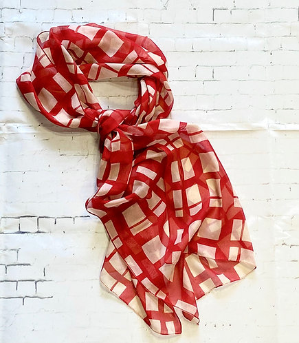 Vintage Red & Cream Check Chiffon Scarf