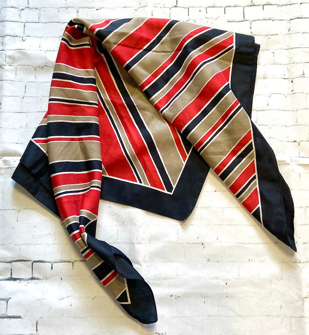 Vintage Black Red & Taupe Striped Scarf